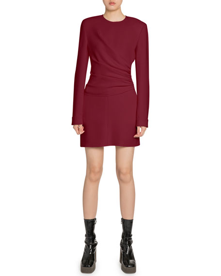 Ruched-Side Long-Sleeve Dress