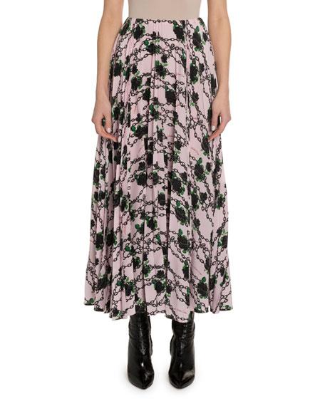 Rose & Chain-Print Crepe Skirt