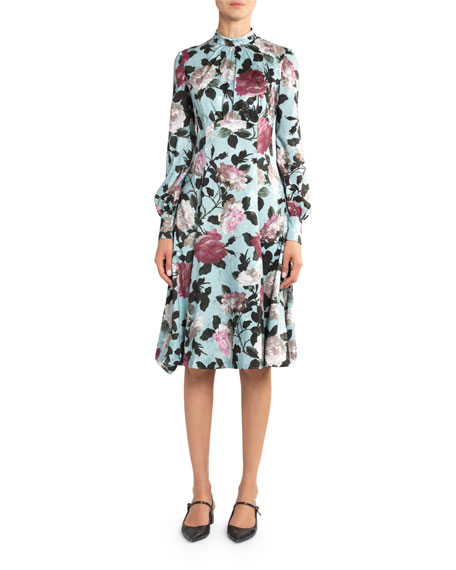 Dusty Floral High-Neck Dress