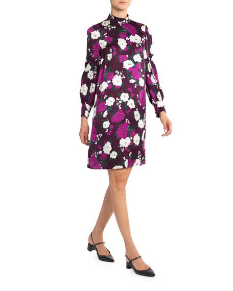 Floral Satin Long-Sleeve Shift Dress