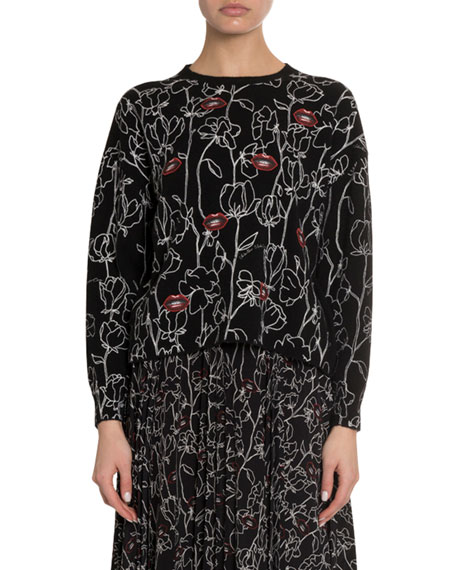 Embroidered Lips Flower Sweater