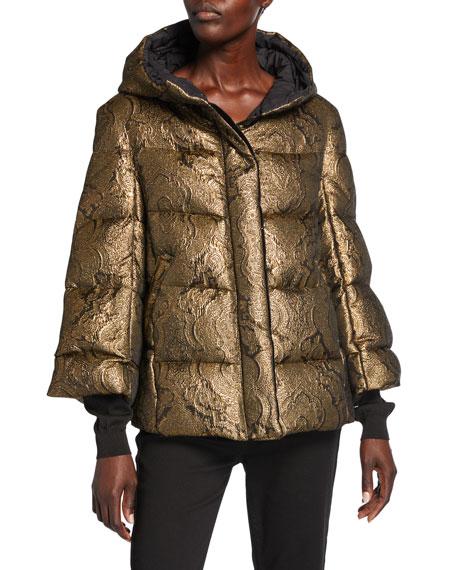 Golden Jacquard Puffer Jacket