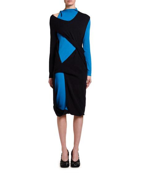 Two-Tone Cutout Jersey Midi Dress