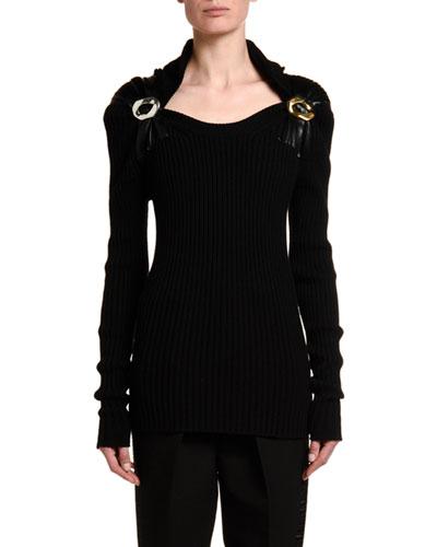 Long-Sleeve Open-Neck Technical Wool Sweater