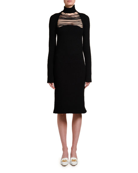 Silk Sable Chain-Yoke Turtleneck Dress
