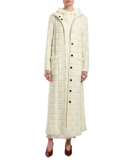 Checked Wool Duster Jacket
