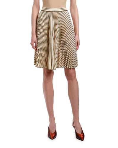 Striped Plisse Knee-Length Skirt