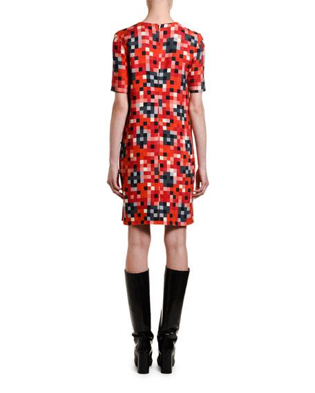 Pixel-Pattern Short-Sleeve Tunic Dress