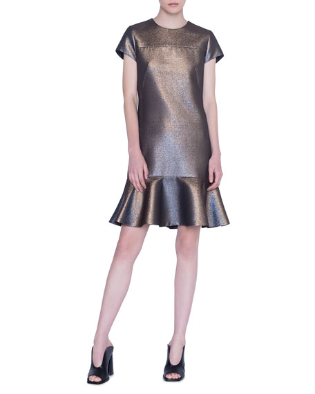 Image 1 of 1: Iridescent Gold Lame Dress