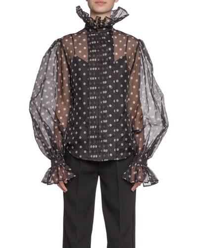 Polka-Dot Print Chiffon Full-Sleeve Button-Front Shirt