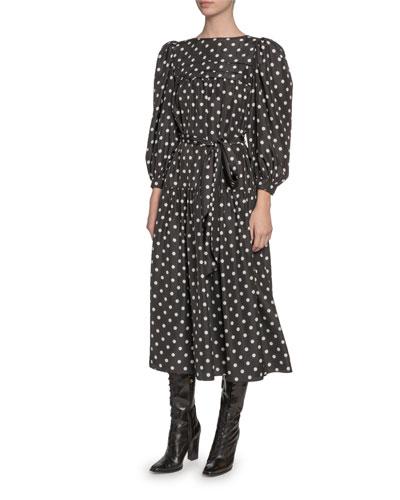 Silk Peasant-Sleeve Dress