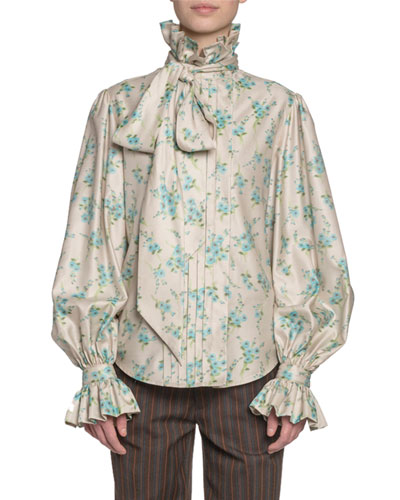 Floral Print Georgette Full-Sleeve Button-Front Shirt