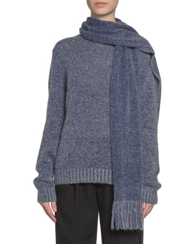 Cashmere Scarf-Neck Sweater