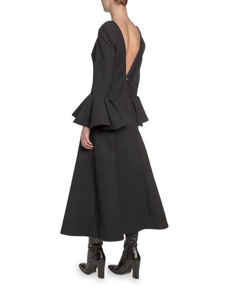 Wool Wide-Neck Bell-Cuff Dress