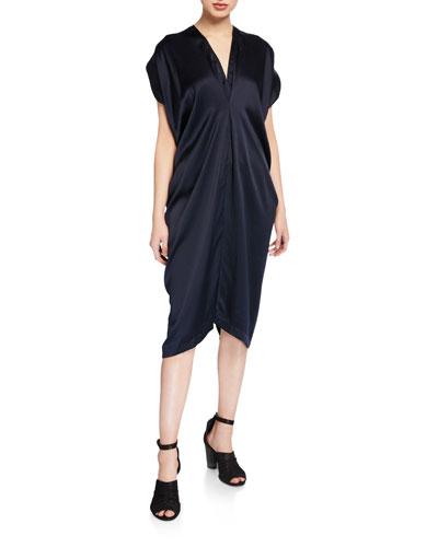 Issa Pebble Silk V-Neck Short-Sleeve Dress