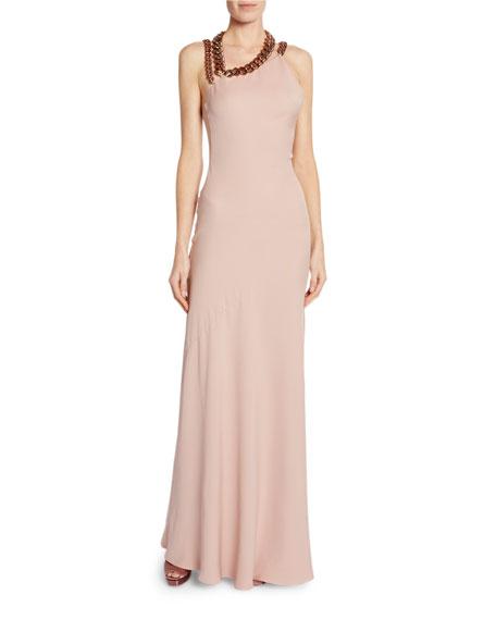 Sleeveless Asymmetric Dress w/ Chain Strap