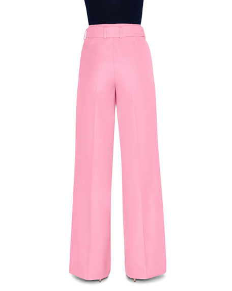Crepe Belted Wide-Leg Pants with Geometric-Buckle