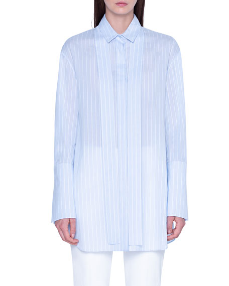 Striped Tie-Neck Oversized Shirt