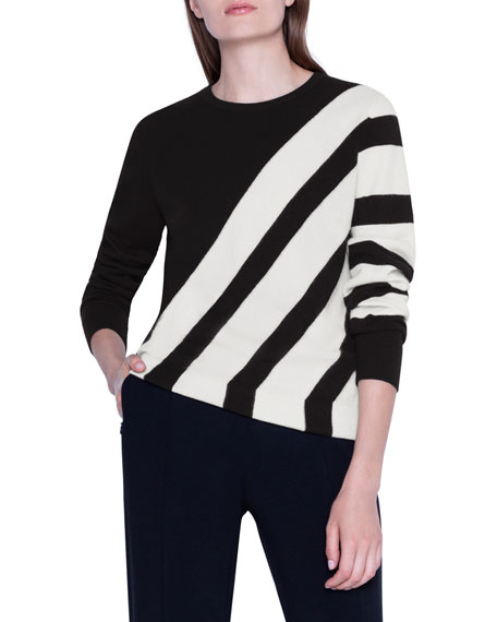 Image 1 of 1: Cashmere Diagonal-Striped Pullover Sweater