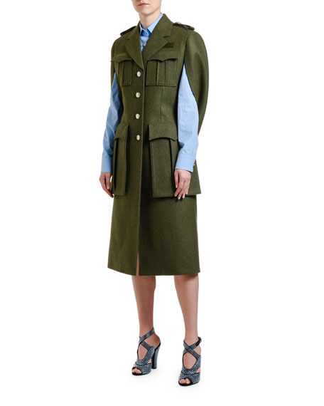 Military Wool Cape Coat