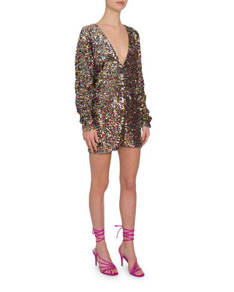 Sequined V-Neck Long-Sleeve Mini Dress