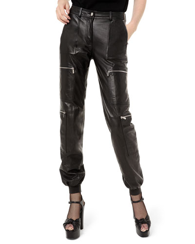 Leather Cargo Jogger Pants