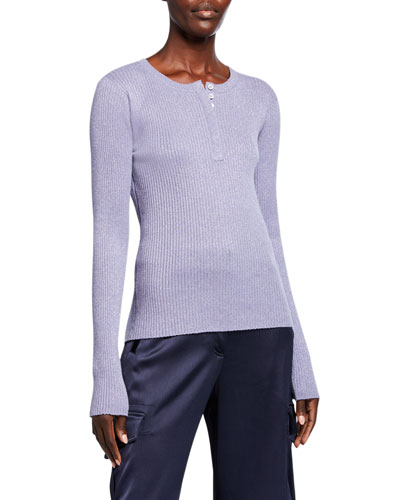 Shimmered Henley Sweater