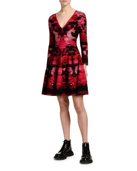 Blurred-Rose Jacquard A-Line Cocktail Dress