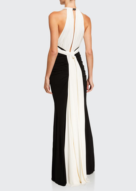 Ruched Two-Tone Jersey Halter-Neck Gown