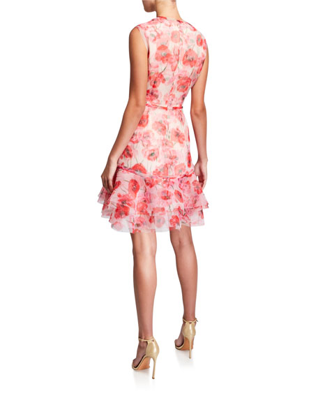 Poppy Print Crinkled Organza Dress
