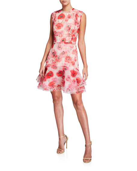 Image 1 of 1: Poppy Print Crinkled Organza Dress