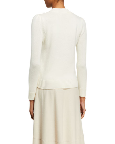 Cashmere Puff-Shoulder Pullover Sweater