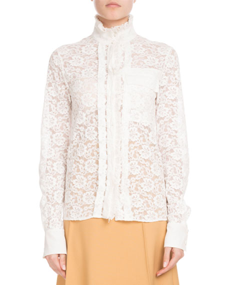 Image 1 of 1: Long-Sleeve Mock-Neck Button-Front Floral-Lace Blouse