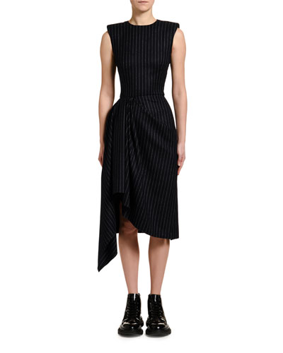 Pinstriped Flannel Draped-Side Cocktail Dress