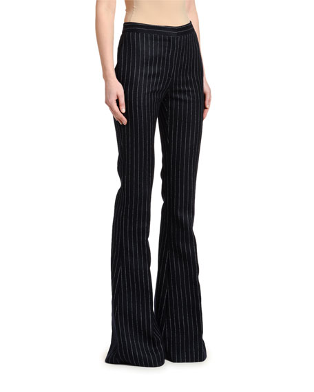 Pinstriped Flannel Flare Pants