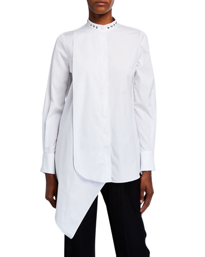 Studded Poplin Asymmetric Blouse