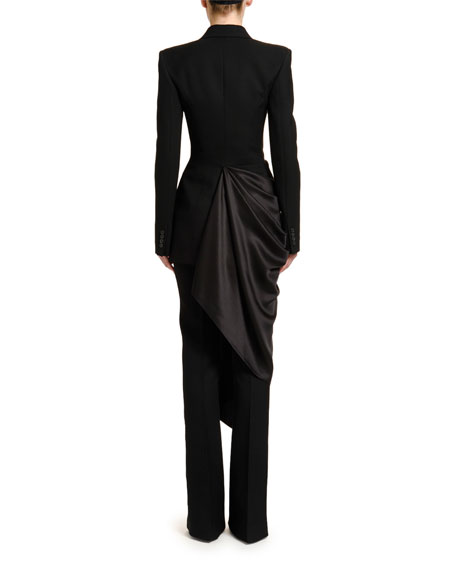 Satin-Side Draped Tuxedo Blazer