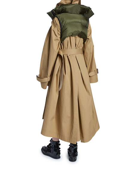 Oversized Cotton Trench Coat with Detachable Vest