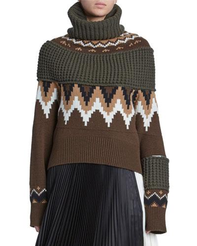 Mutli Fairisle Zip-Sleeve Sweater