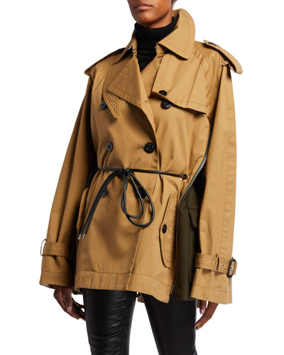 Cord-Belted Oversized Trench Coat
