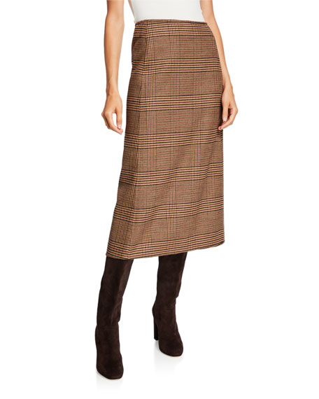 Image 1 of 1: Plaid Wool Midi Skirt
