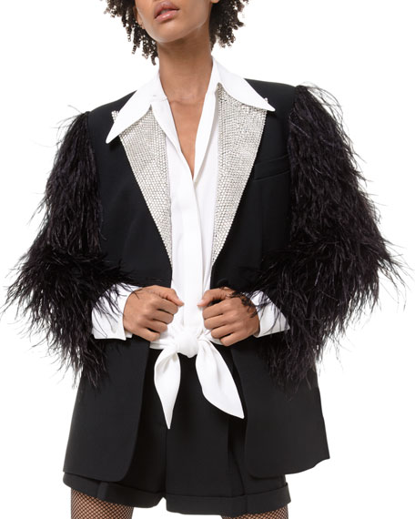 Feather-Sleeve Rhinestone-Lapel Two-Button Jacket