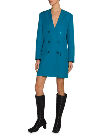 Tech Twill Double-Breasted Blazer Dress