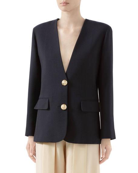 Double Wool Crepe V-Neck Jacket