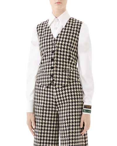 Houndstooth Fitted Vest