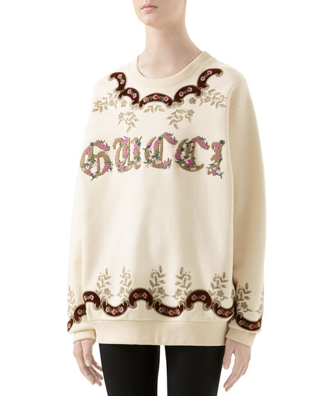Image 1 of 1: Oversized Tapestry-Embroidered Sweatshirt