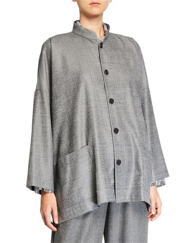 Wool-Silk Button-Front Mandarin Jacket