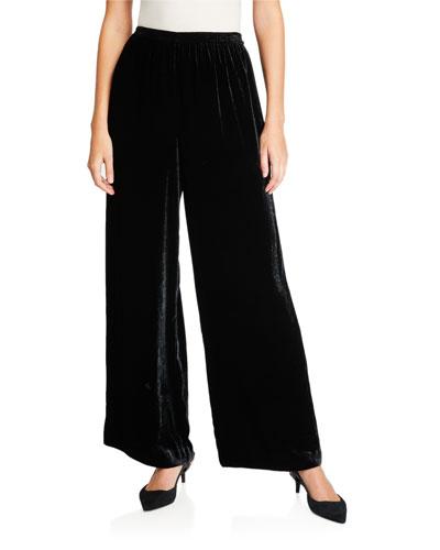 Velvet Flared-Leg Trousers