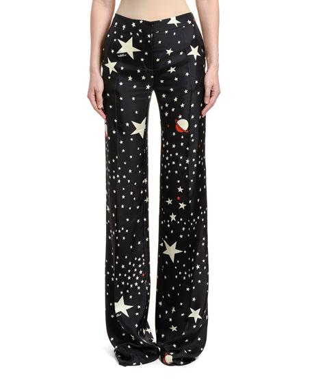 Space-Motif Silk Trousers
