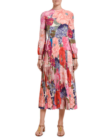 Image 1 of 1: Floral Silk Midi Dress